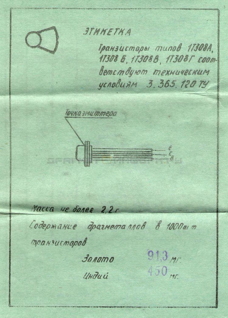 Формуляр 1Т308Б