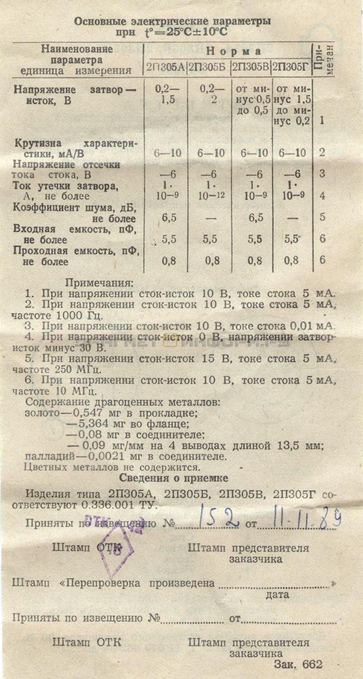 Формуляр 2П305А