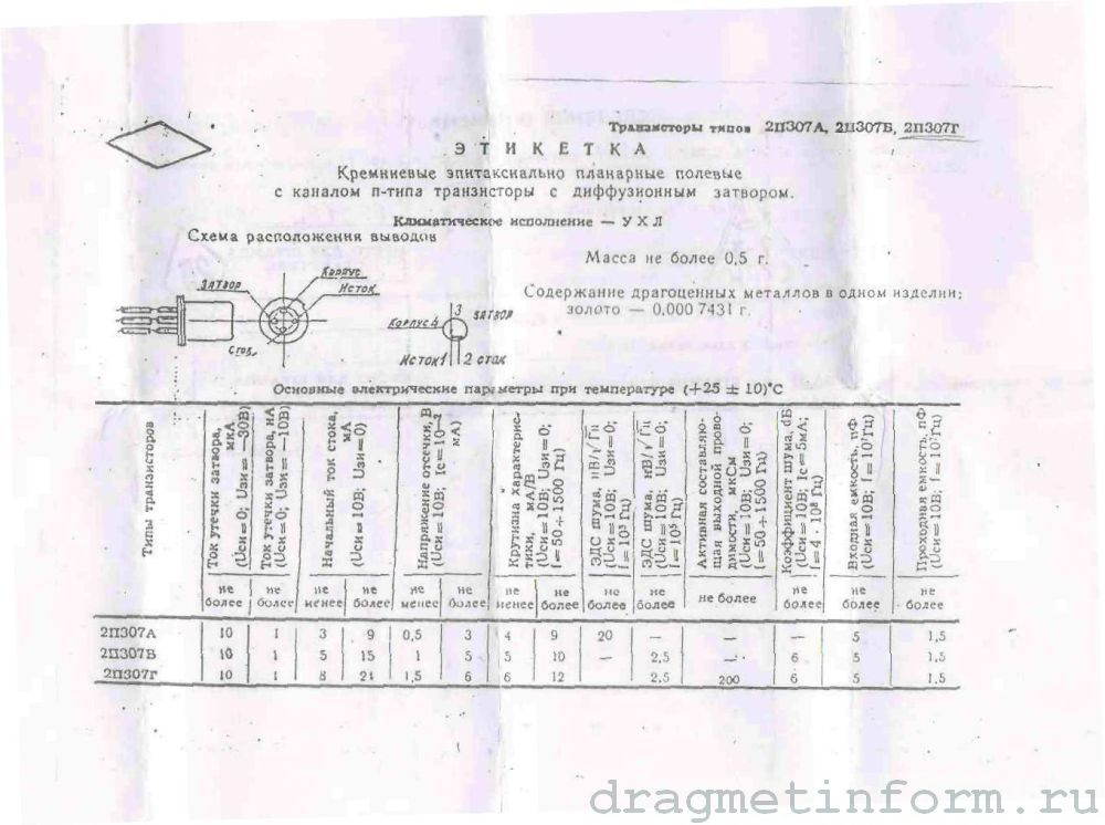Формуляр 2П307А УХЛ