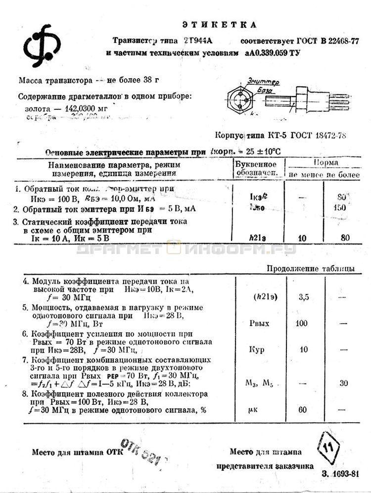 Формуляр 2Т944А