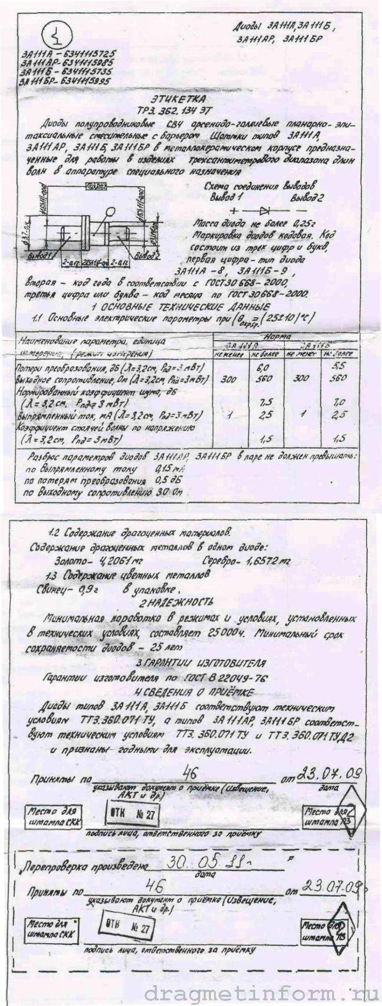 Формуляр 3А111БР