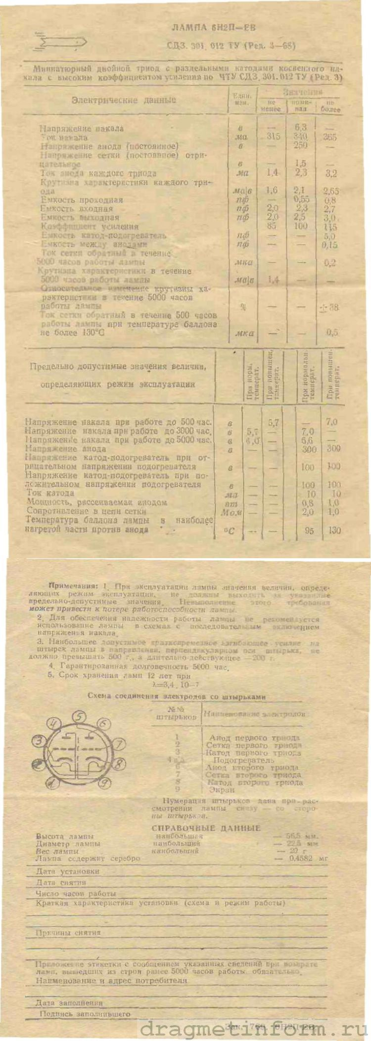 Формуляр 6Н2П-ЕВ СД3.301.012 ТУ