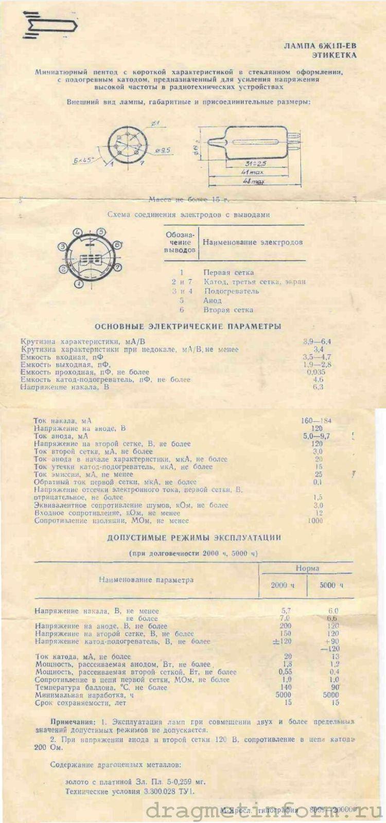 Формуляр 6Ж1П-ЕВ