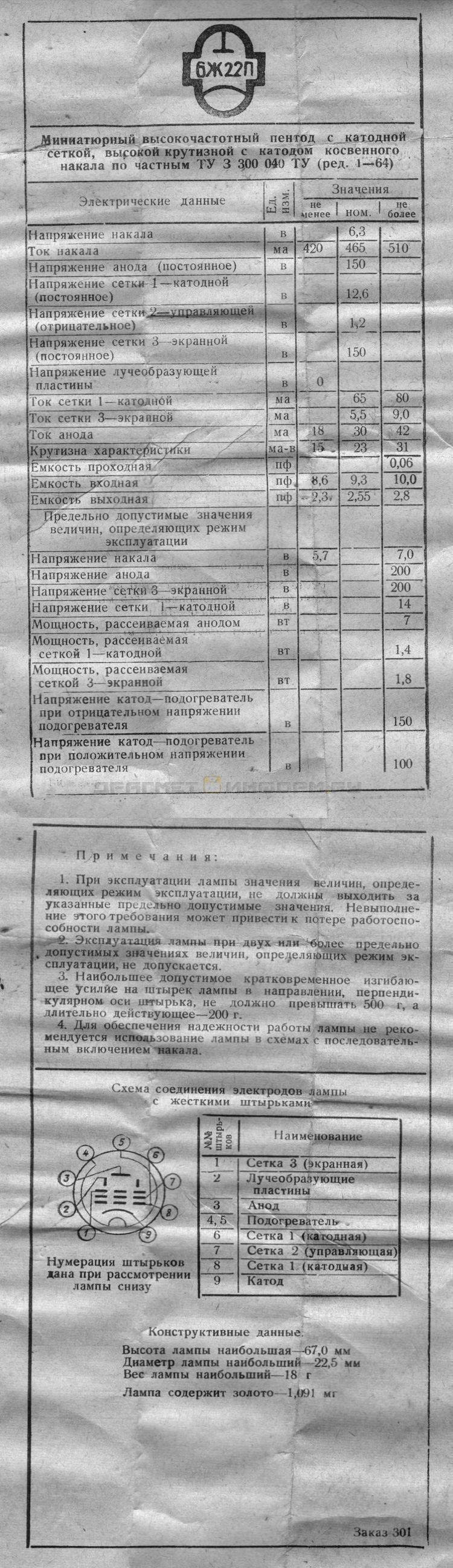 Формуляр 6Ж22П