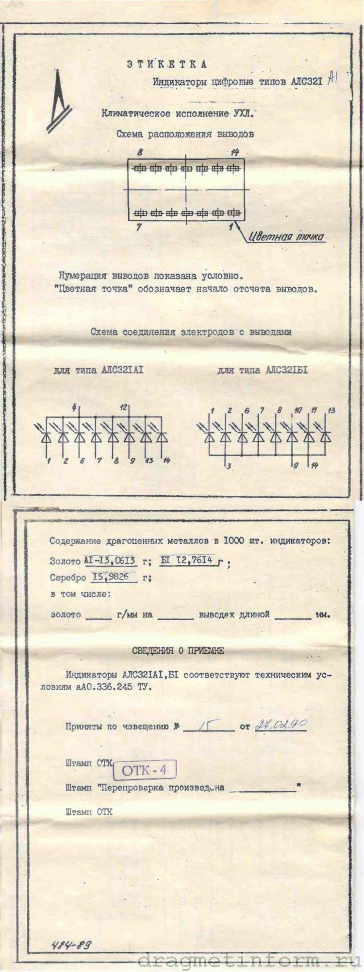 Формуляр АЛС321Б-1
