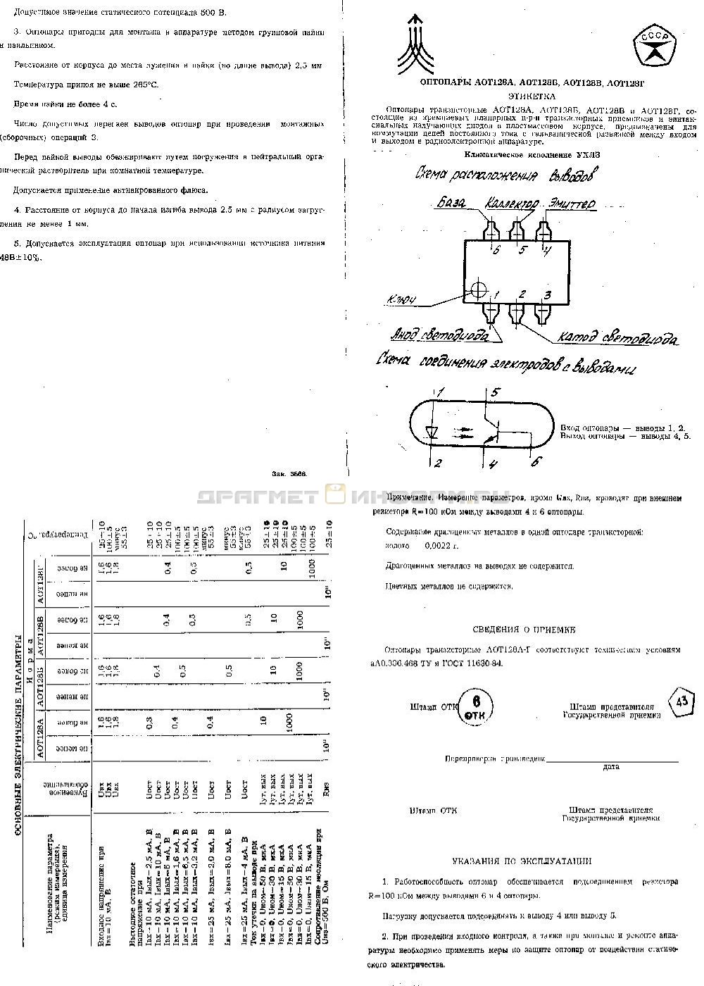 Формуляр АОТ128А