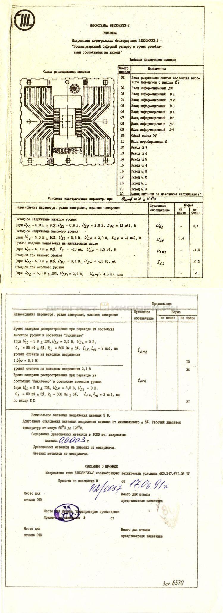 Формуляр Б1533ИР33-2