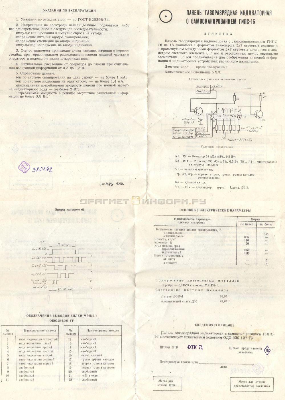 Формуляр МРН22-1 в