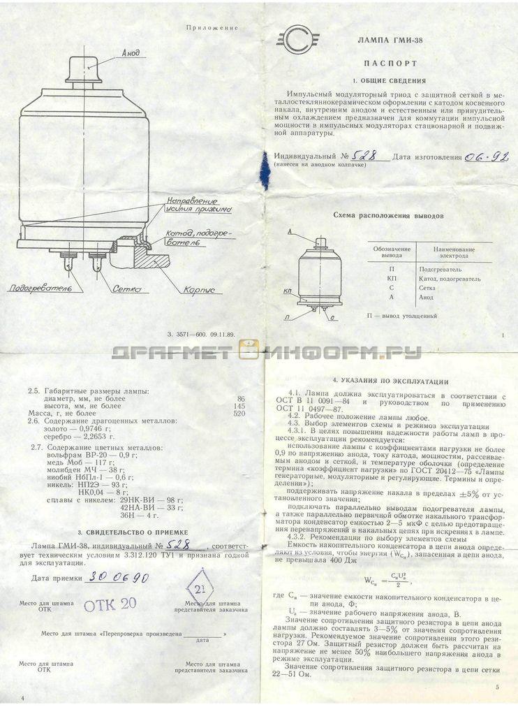 Формуляр ГМИ-38