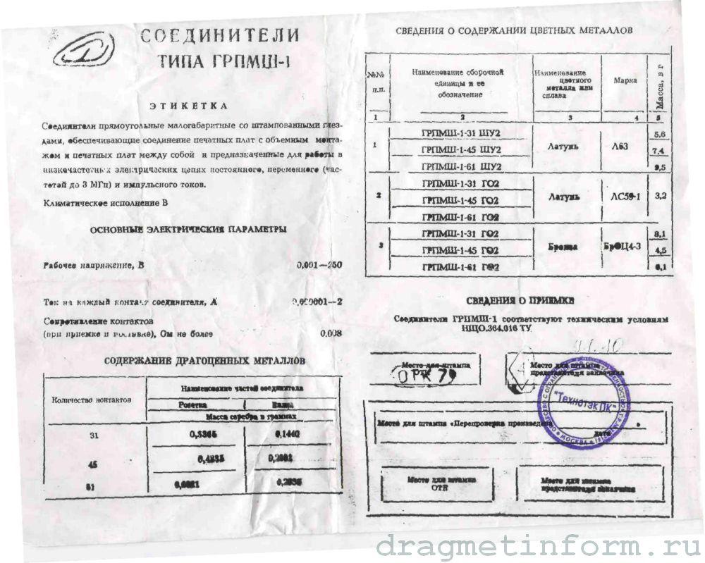 Формуляр ГРПМШ-1-61ШУ2 В