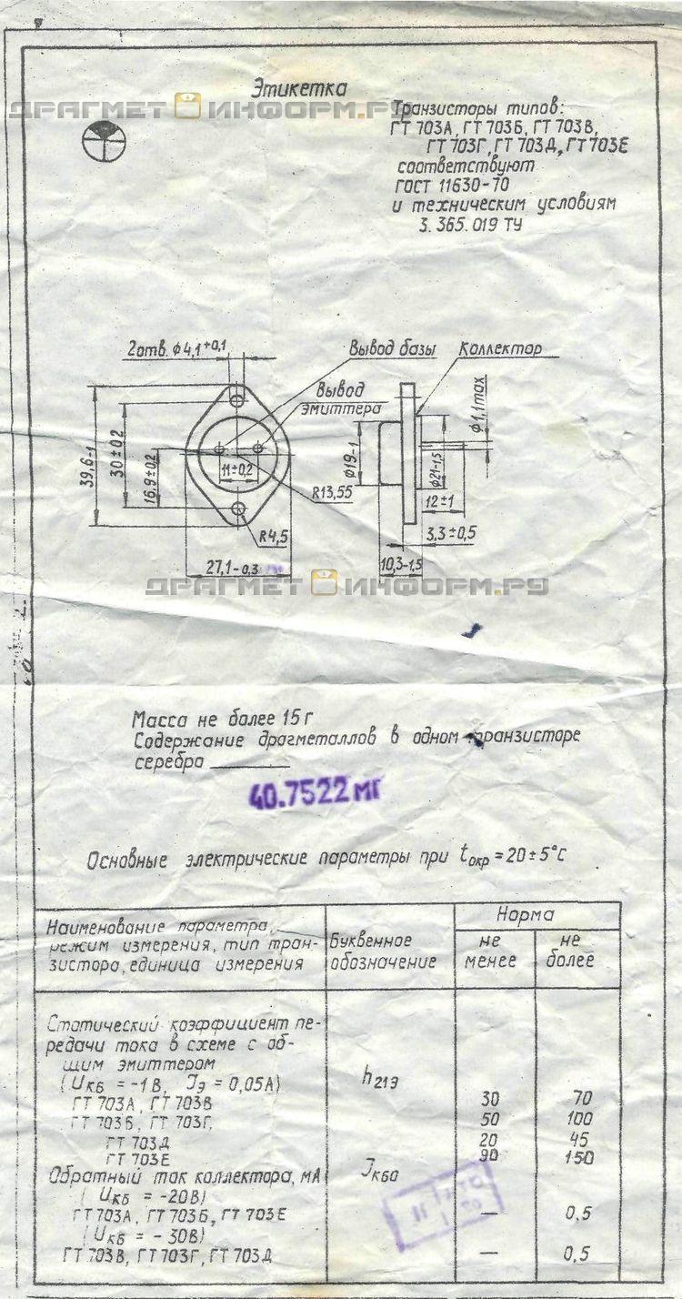 Формуляр ГТ703Г