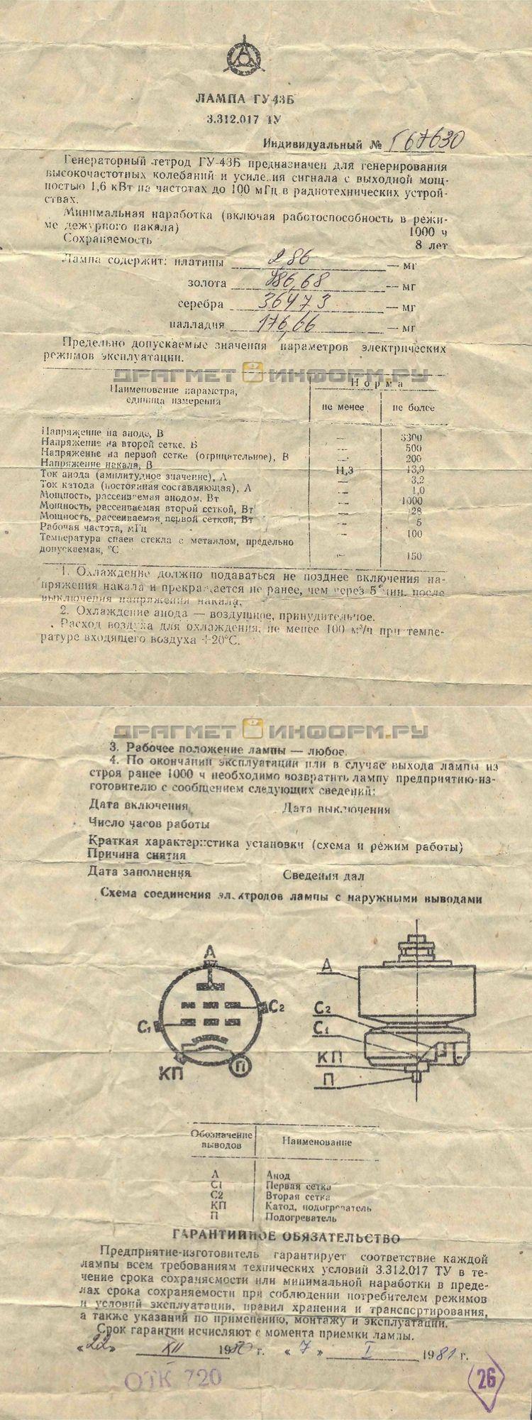Формуляр ГУ-43Б