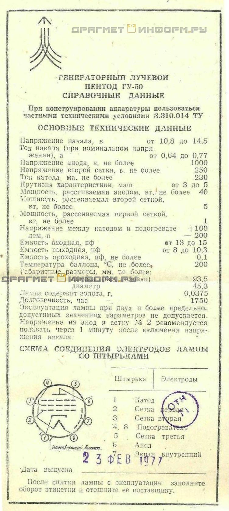 Формуляр ГУ-50