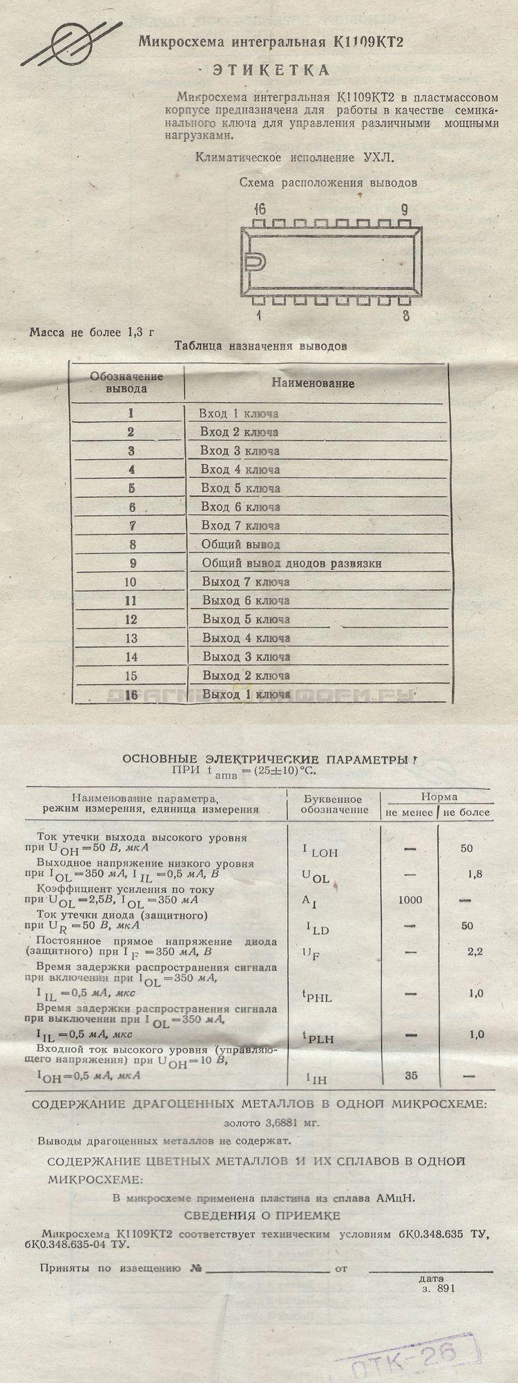 Формуляр К1109КТ2