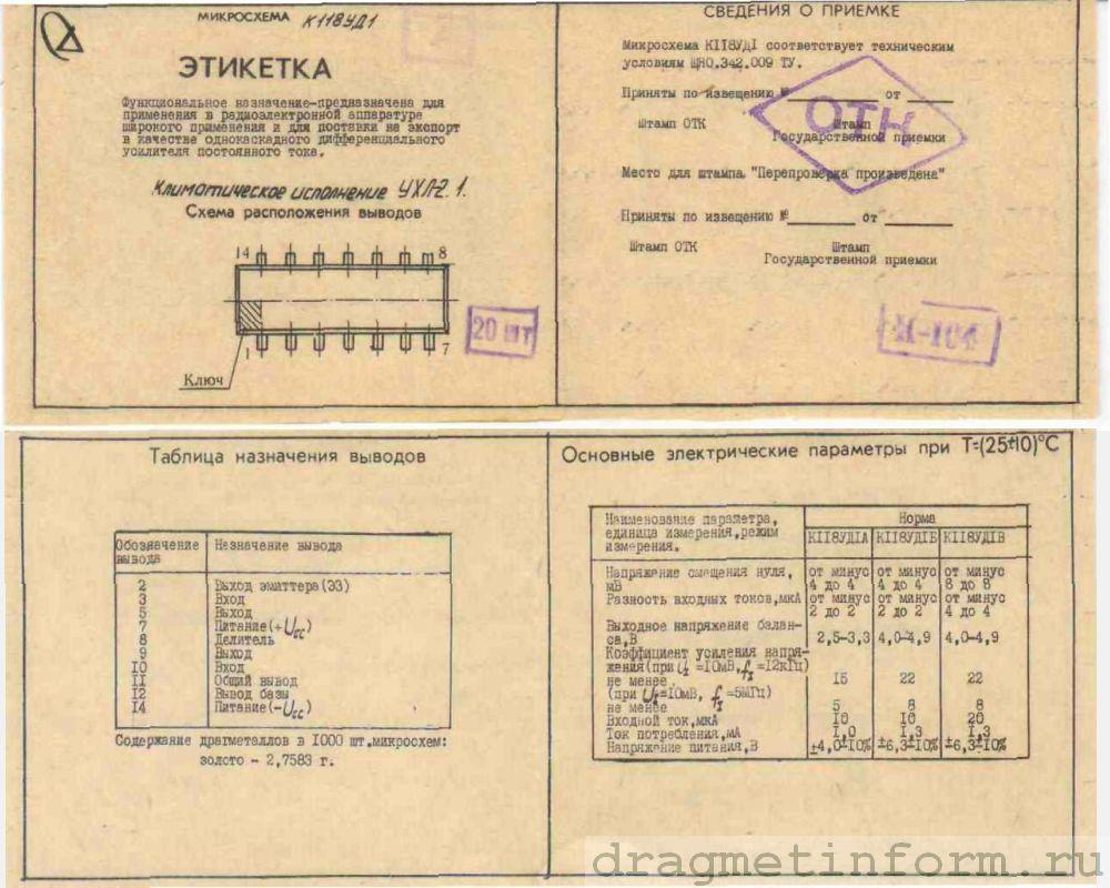 Формуляр К118УД1Б