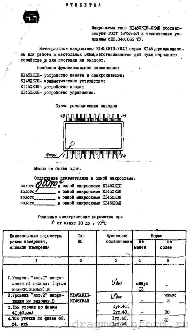 Формуляр К145ХК1П