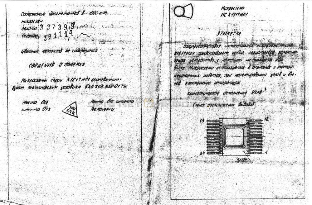 Формуляр К1517ИР1