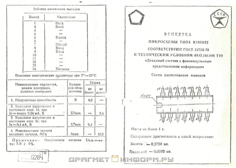 Формуляр К155ИЕ1