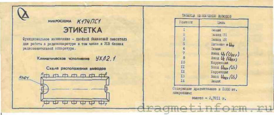Формуляр К174ПС1 УХЛ2.1