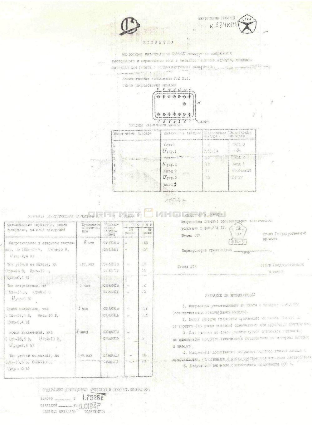Формуляр К284КН1Б
