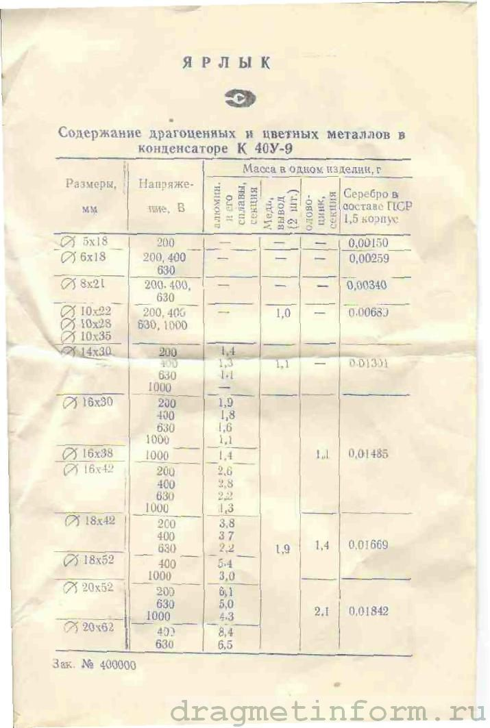 Формуляр К40У-9 d-5мм