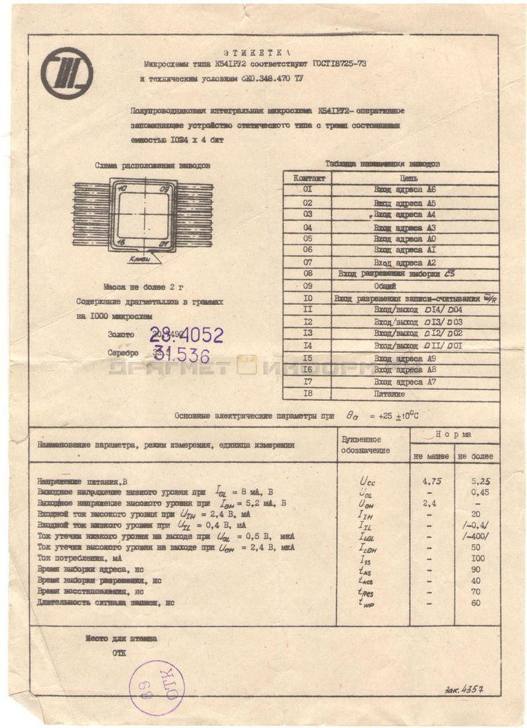 Формуляр К541РУ2