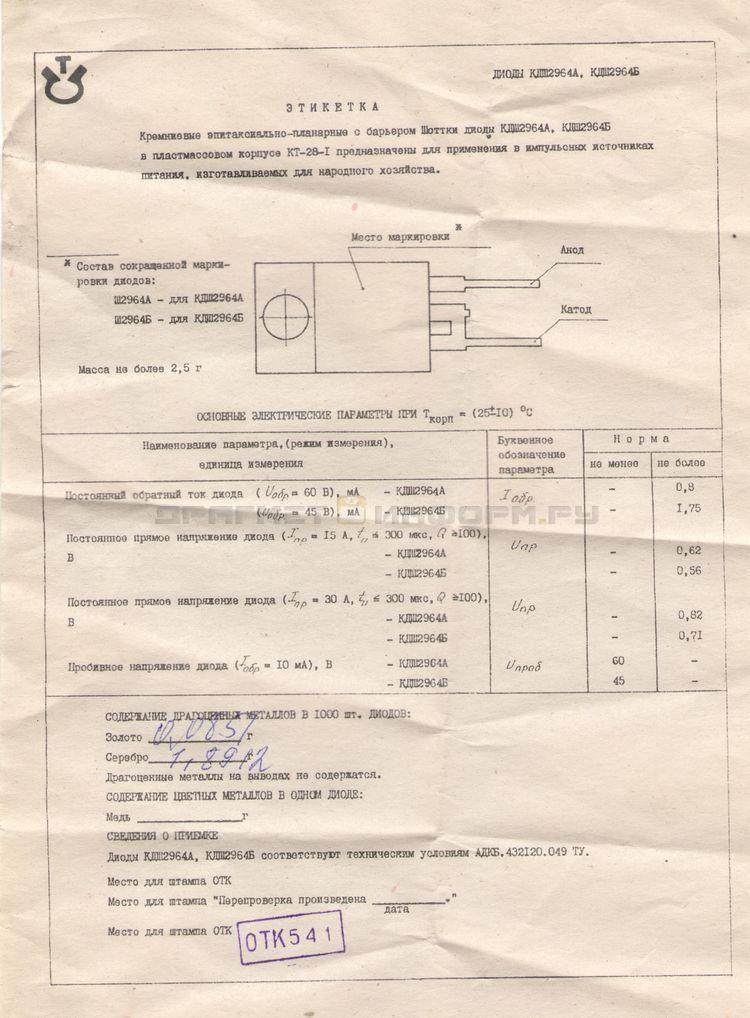 Формуляр КДШ2964А (Ш2964А)