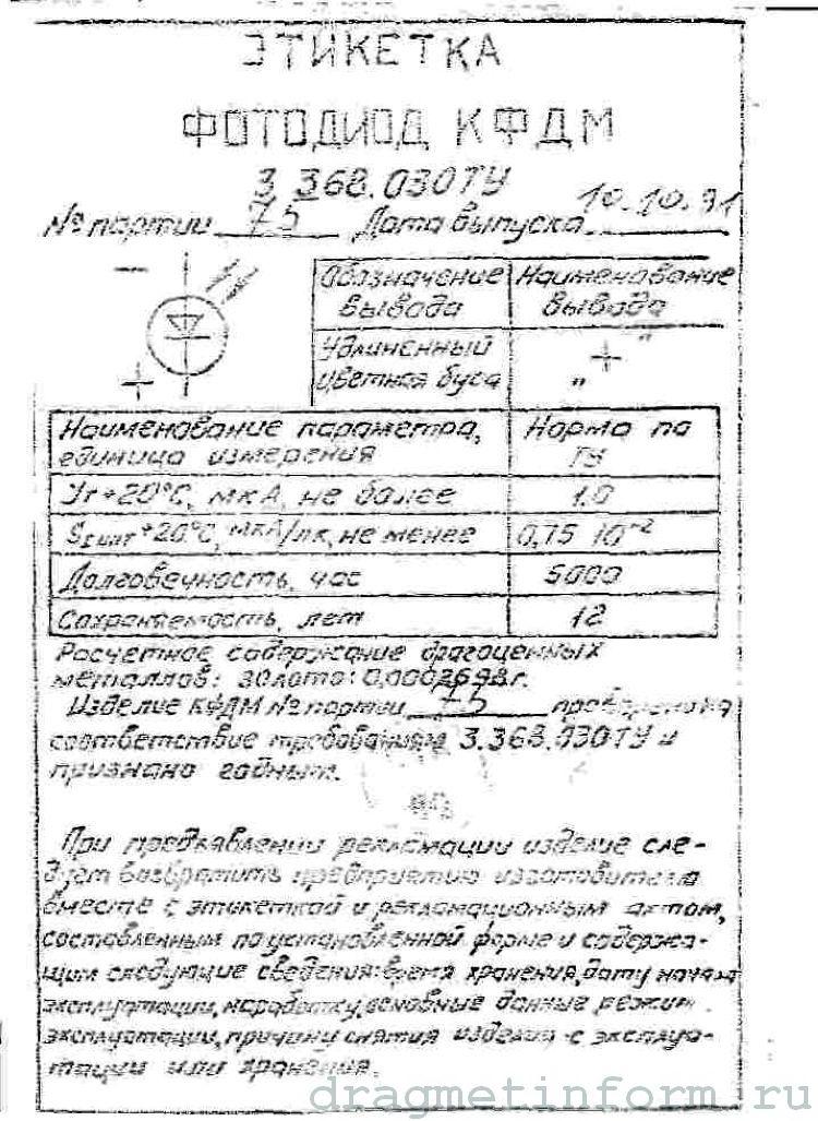Формуляр КФДМ 3.368.030 ТУ