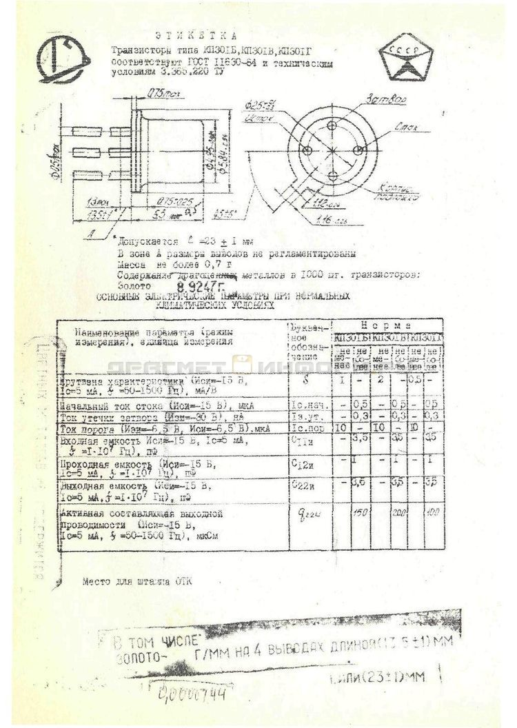 Формуляр КП301Г