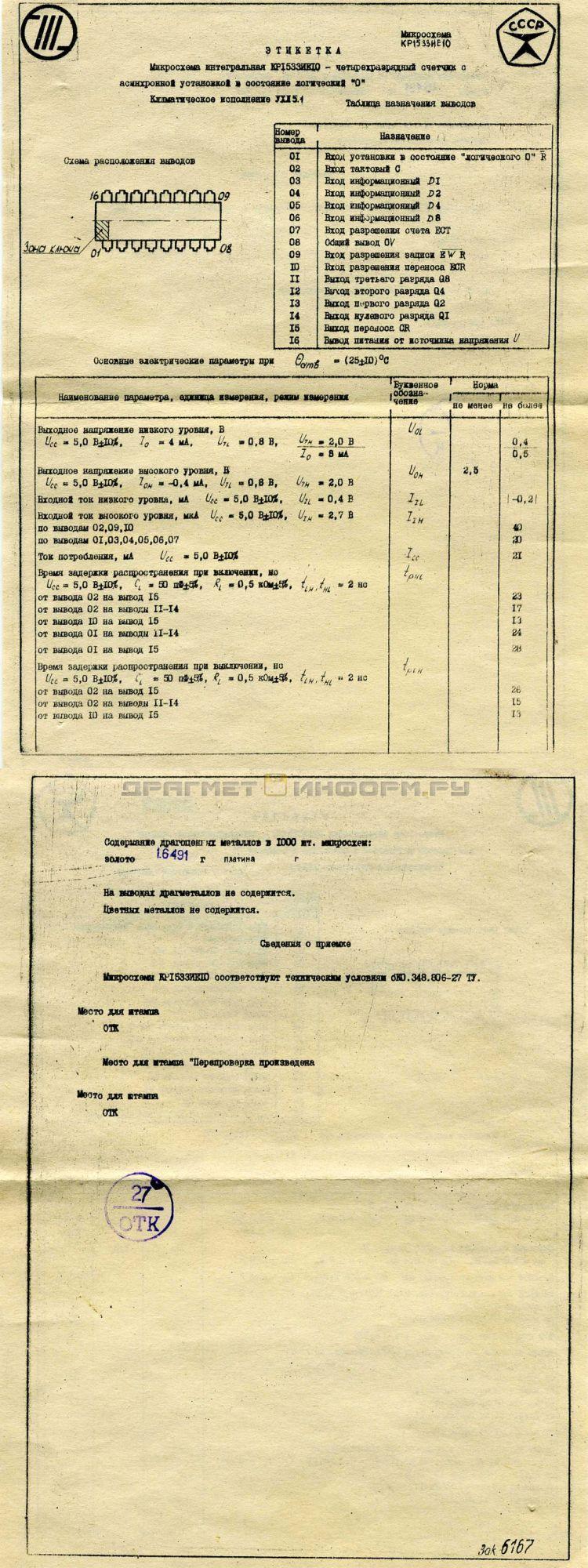 Формуляр КР1533ИЕ10