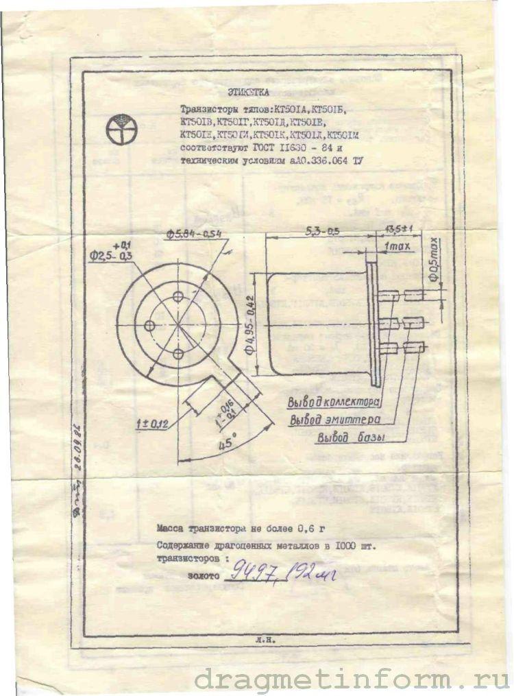 Формуляр КТ501В