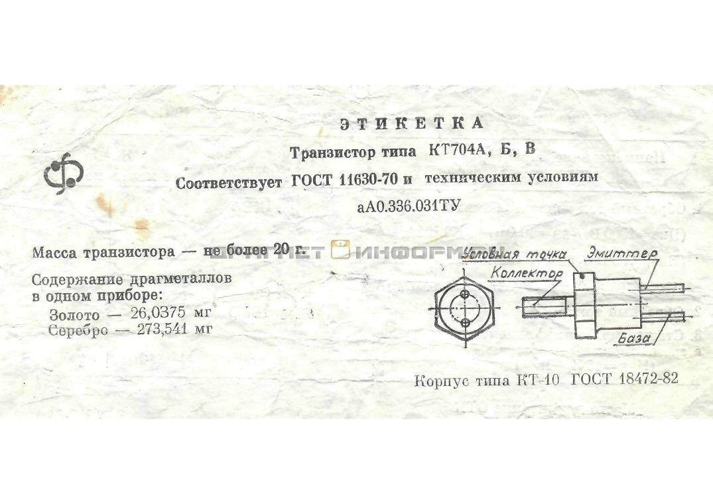 Формуляр КТ704А