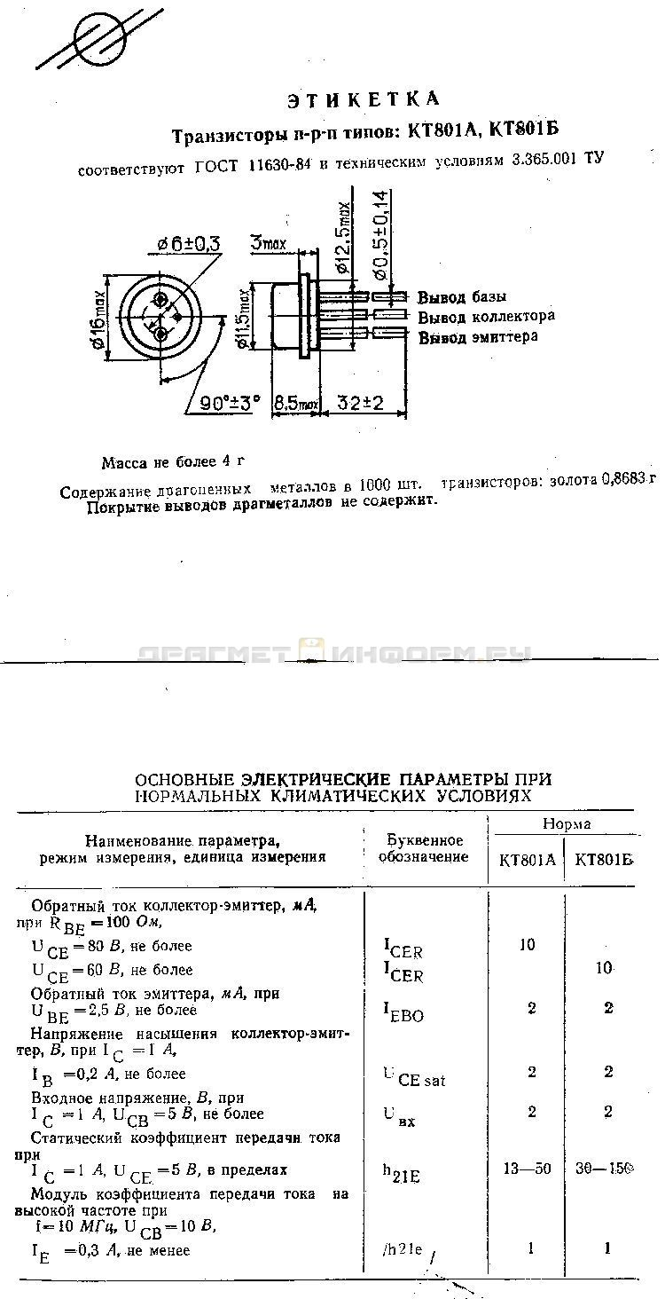 Формуляр КТ801А
