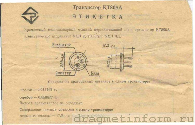 Формуляр КТ808А УХЛ3.1