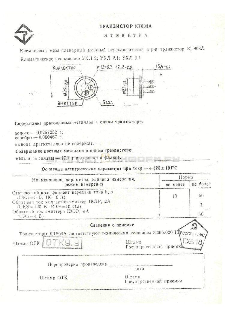 Формуляр КТ808А