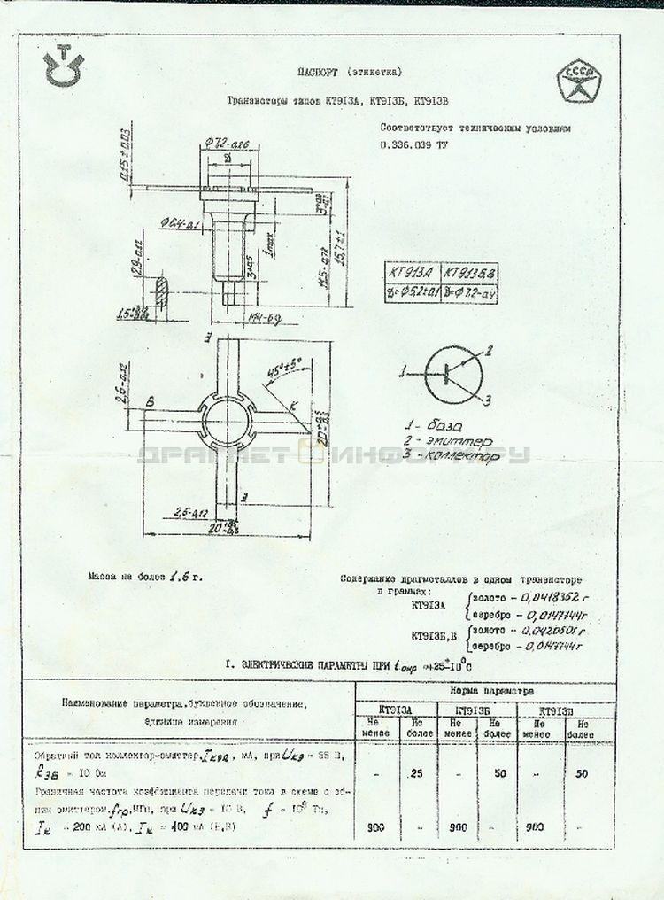 Формуляр КТ913В