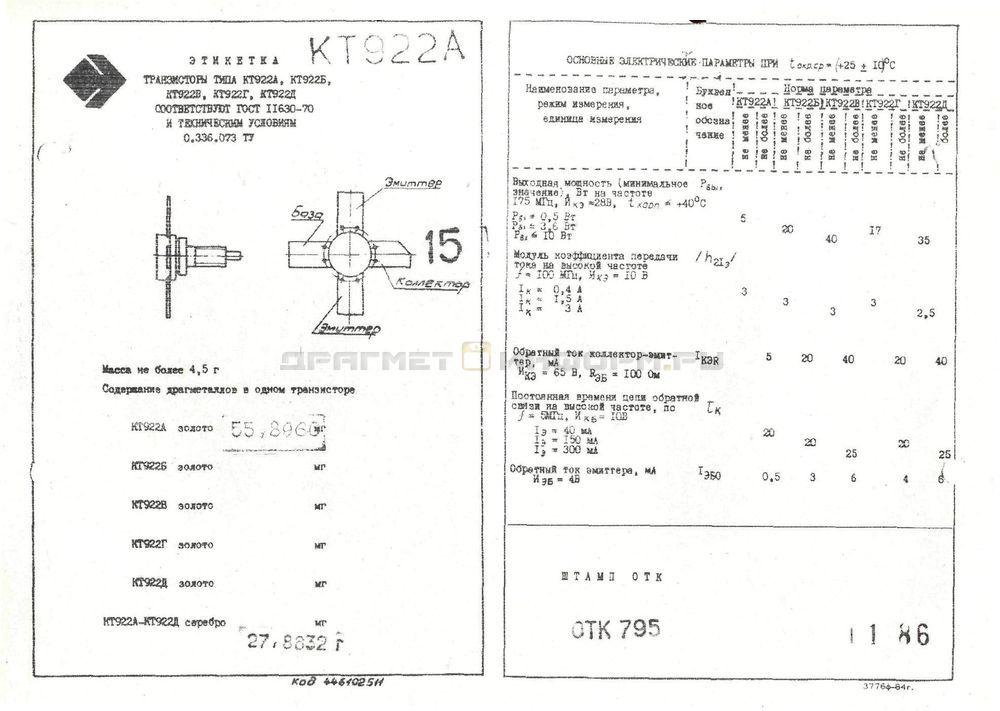 Формуляр КТ922Г