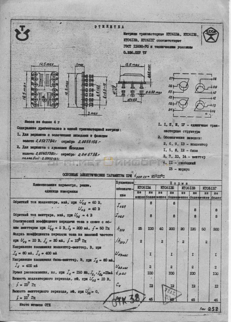 Формуляр КТС613А (зол.)