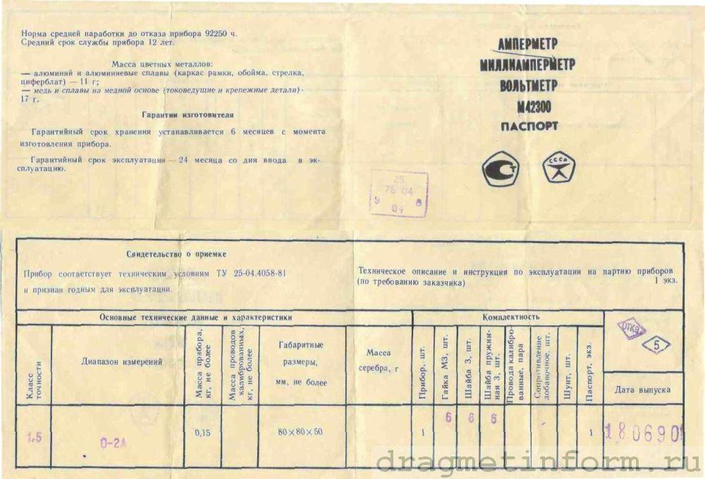 Формуляр М42300