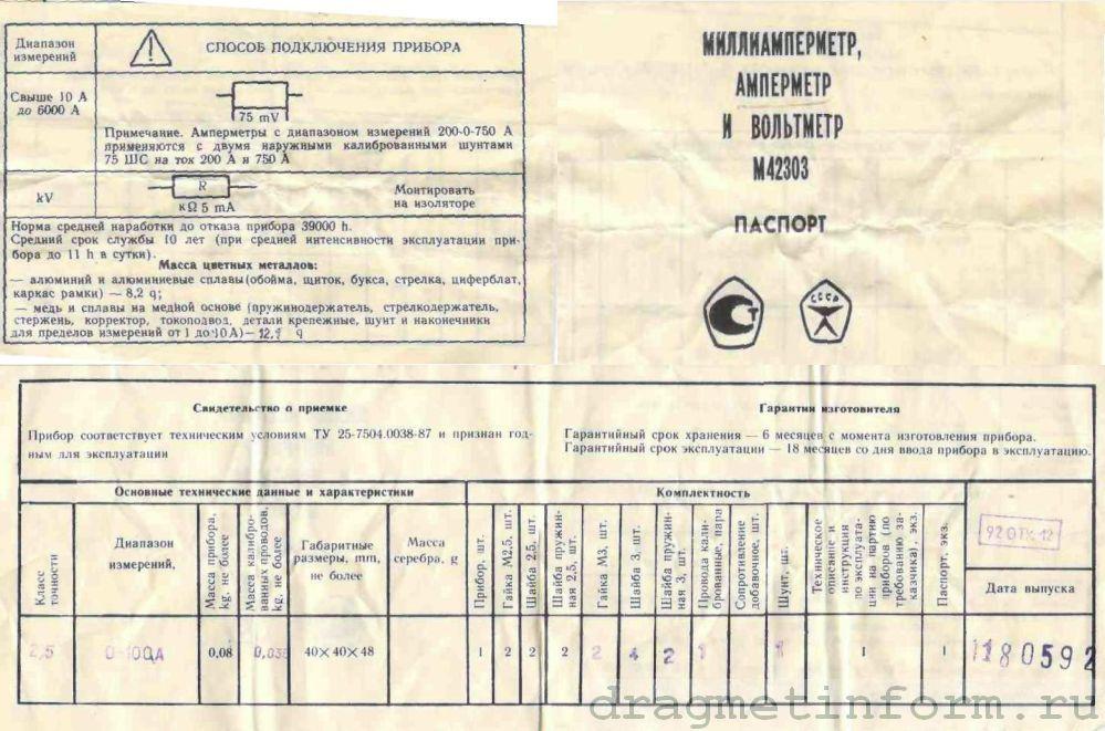 Формуляр М42303