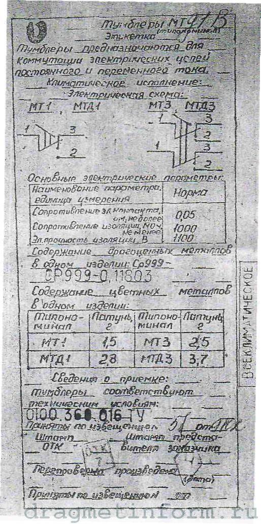 Формуляр МТД1В