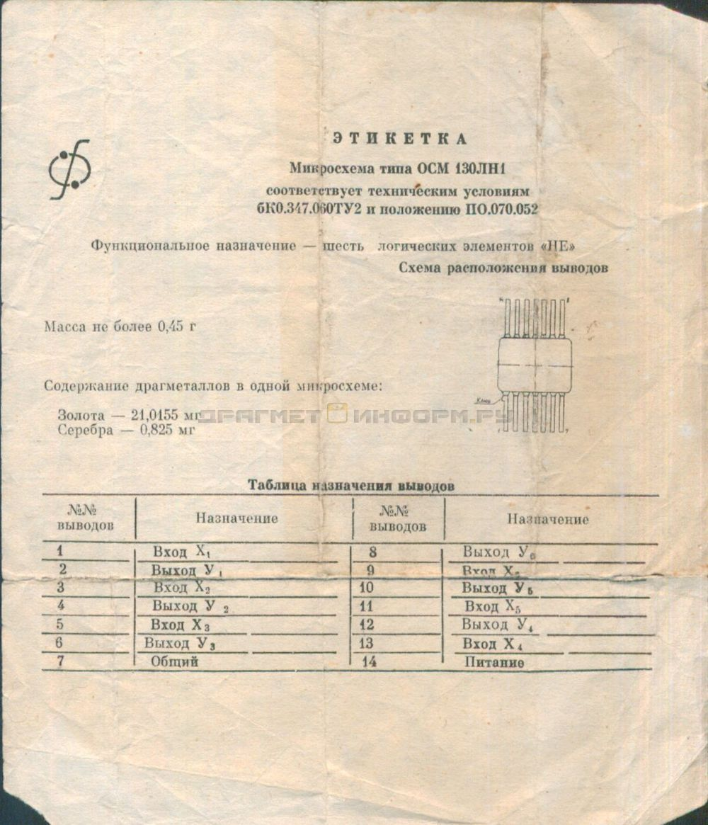 Формуляр ОСМ130ЛН1