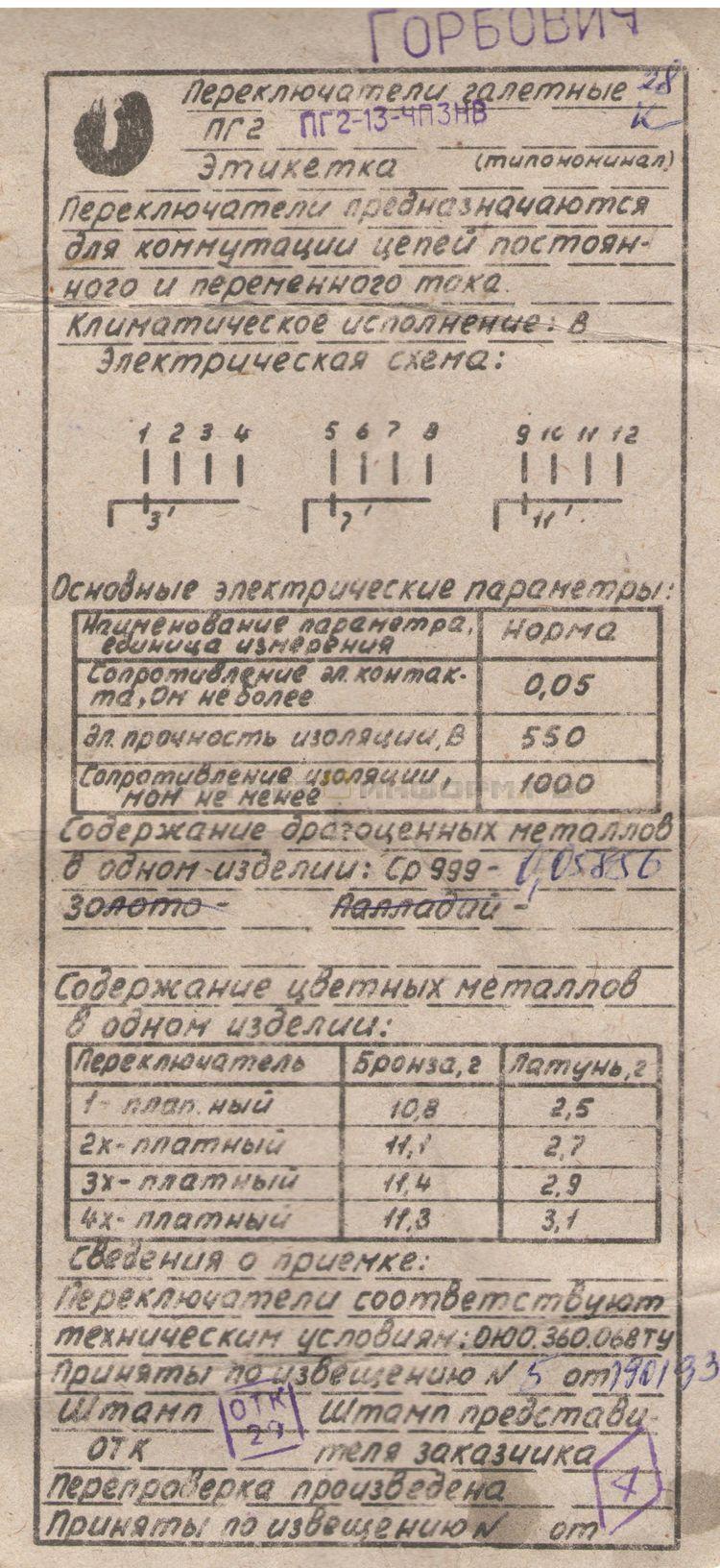 Формуляр ПГ2-13-4П3НВ