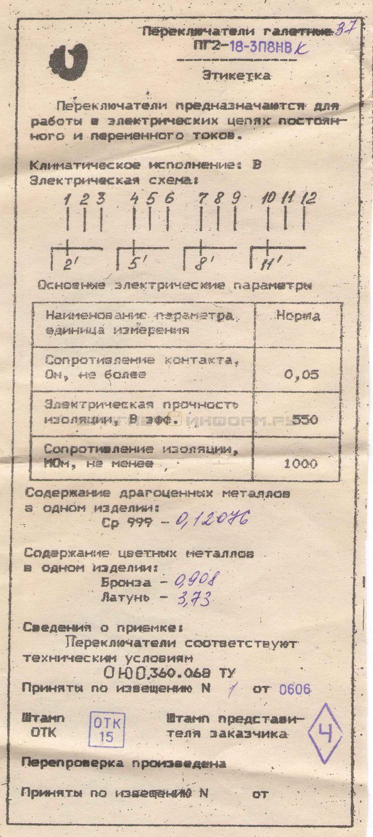 Формуляр ПГ2-18-3П8НВ