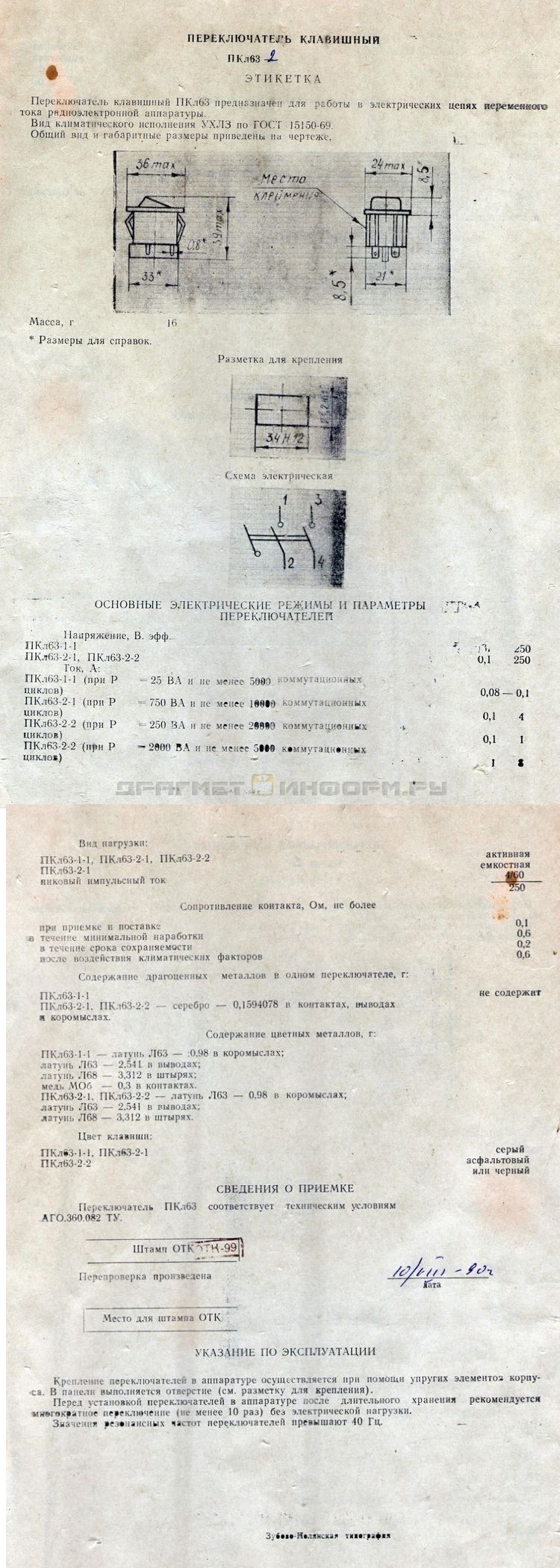 Формуляр Пкл63-2