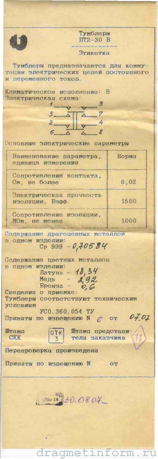 Формуляр ПТ2-30В
