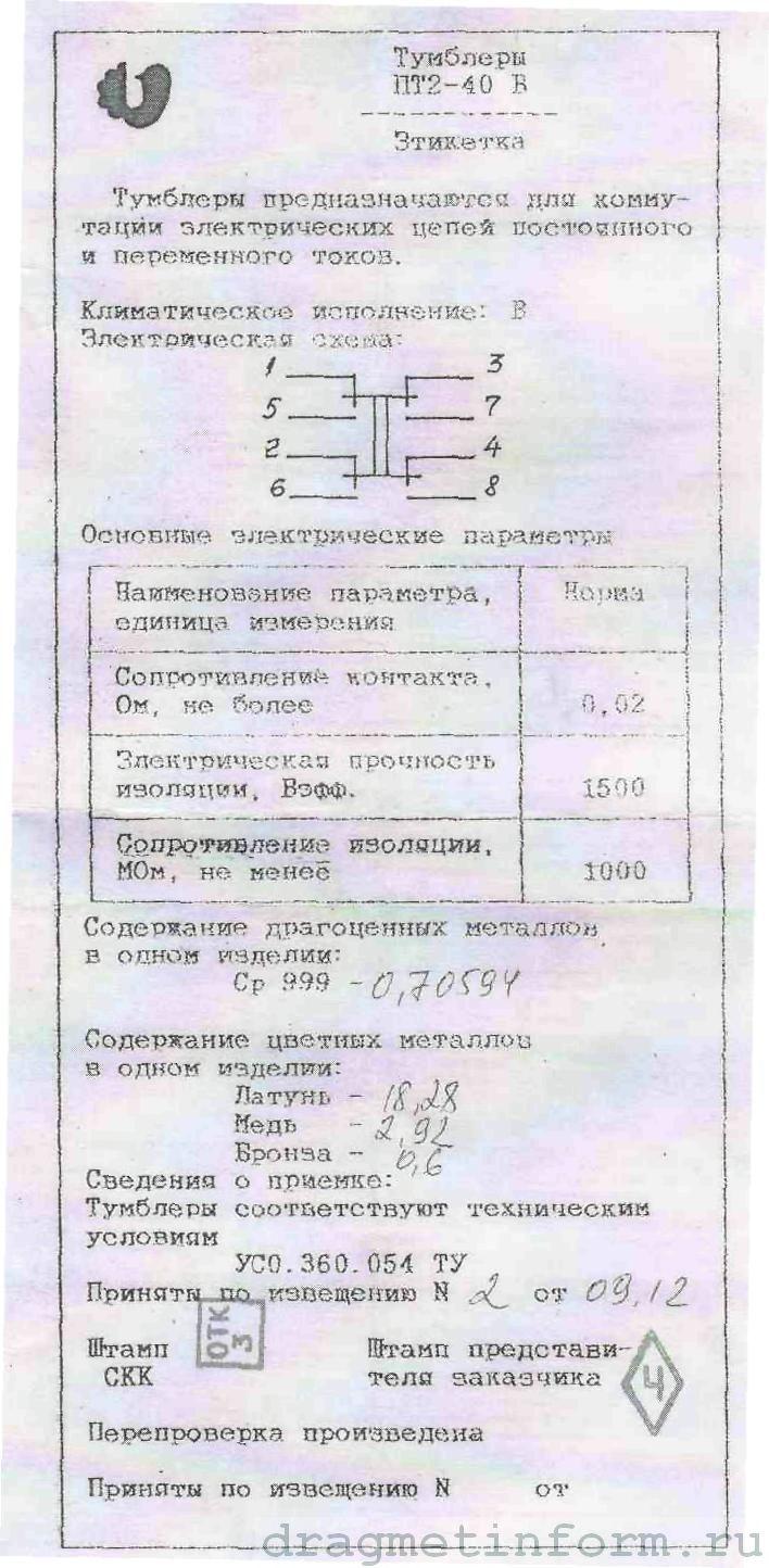 Формуляр ПТ2-40В