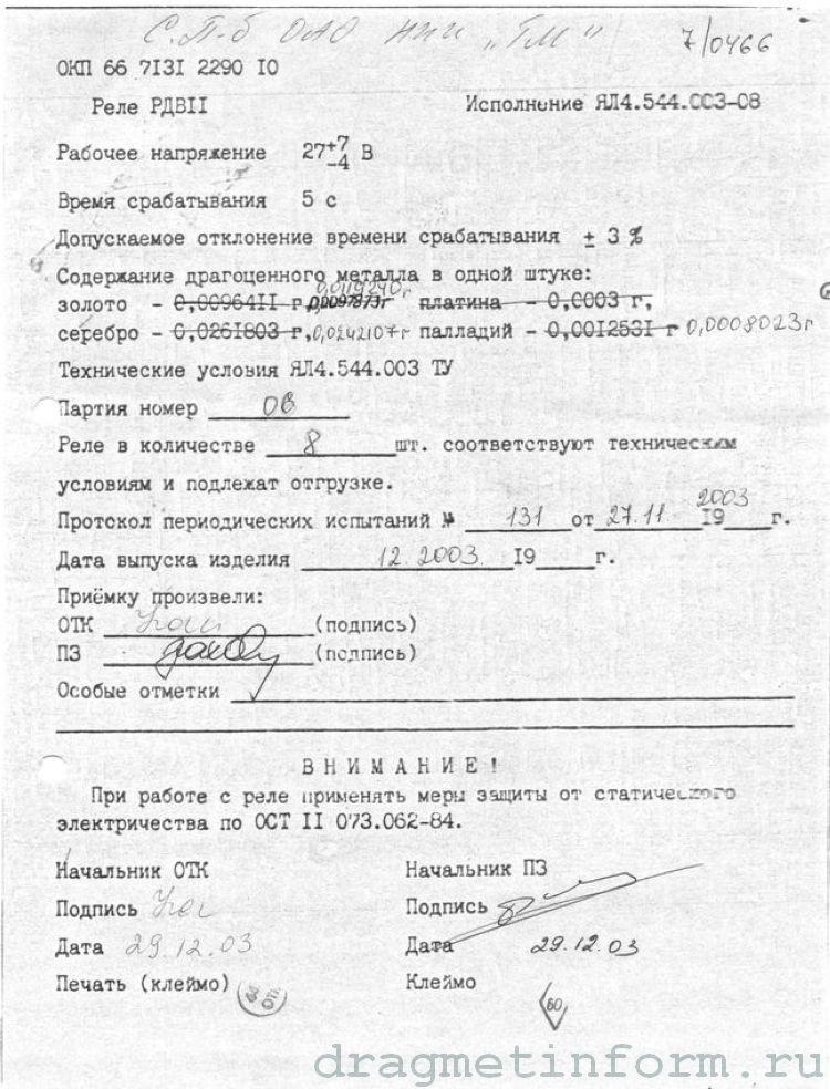 Формуляр РДВ-11