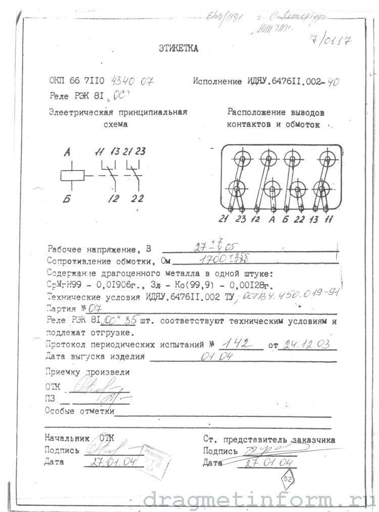 Формуляр РЭК81