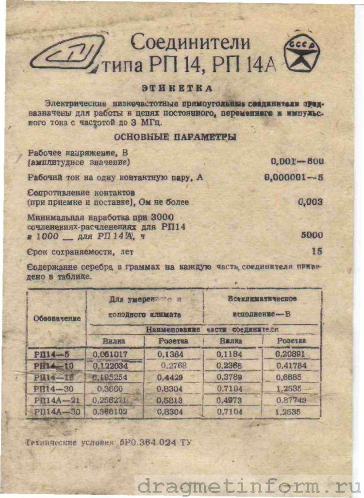 Формуляр РП14-5 исп.В (розетка)